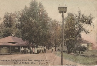 Historic Photo of the Entrance to Springfield Lake Park, East of Akron, Ohio