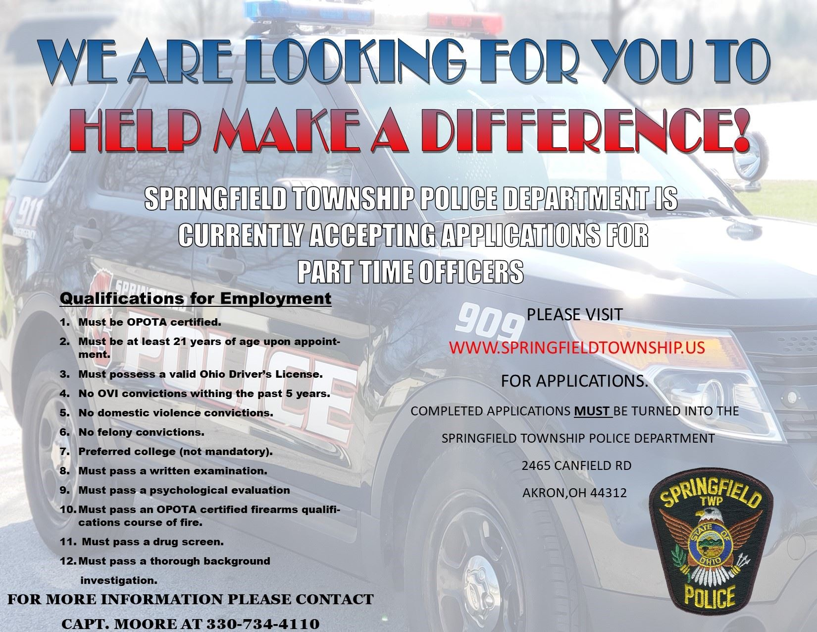 Springfield Township Part-Time Police Officer Information
